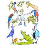 Espalda: Niño y Animales